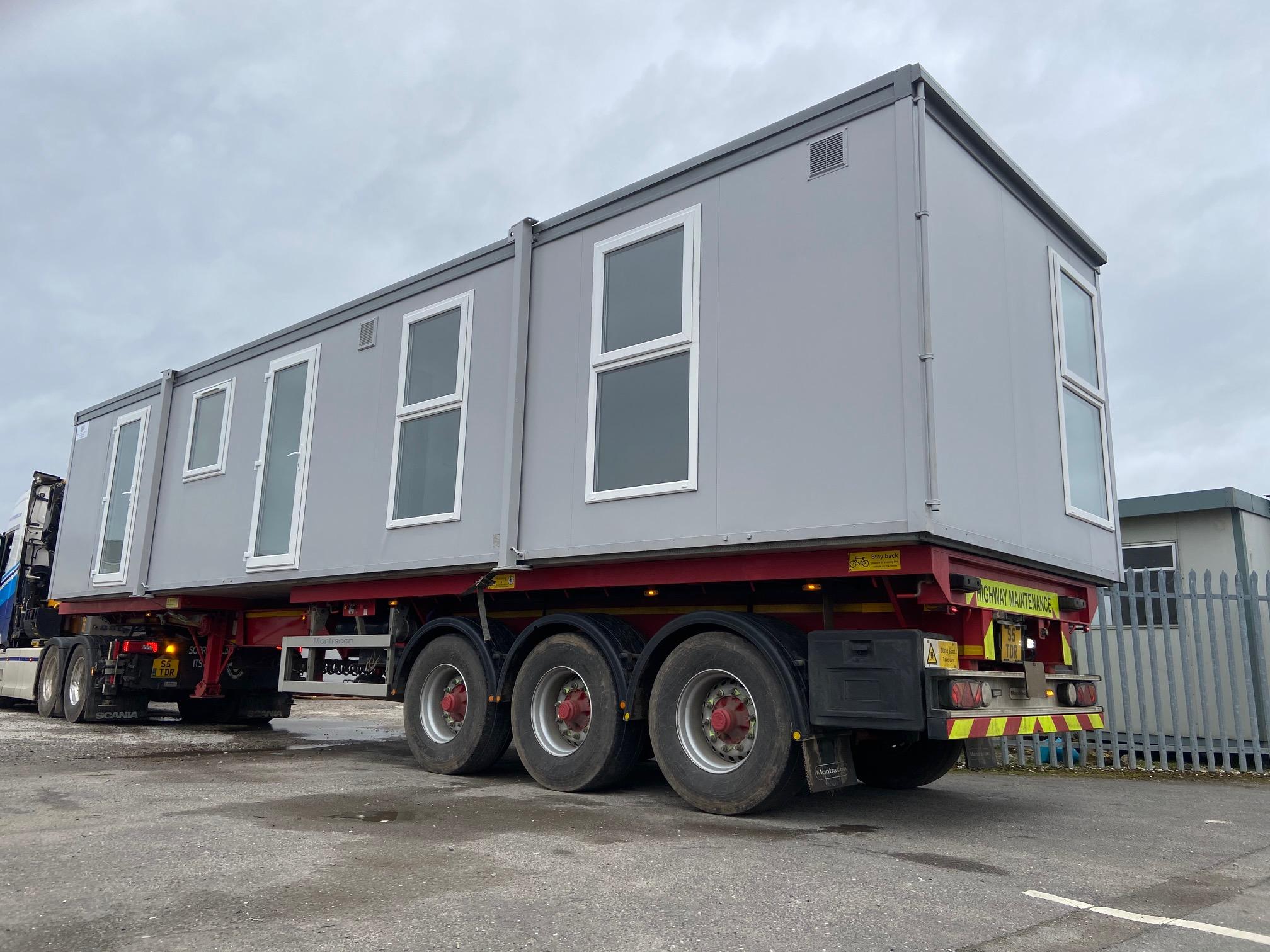 40' x 10' Portakabin after refurbishment, transport