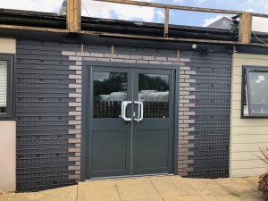 Modular Building, Cladding, aluminium double doors